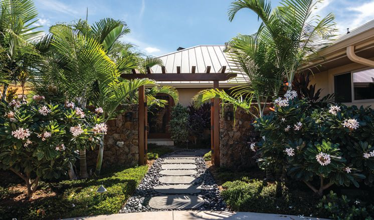 A tropical conservation landscape entrance PHOTO: BY ELEMENTS AND DESIGNS LLC